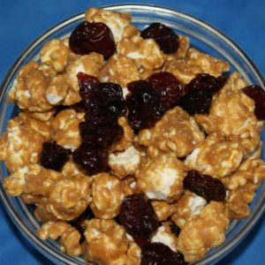 Caramel Corn with Local Dried Cherries – 8oz